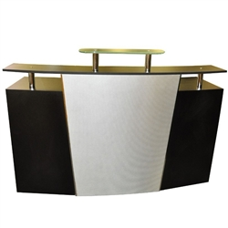 Helena Reception Desk with Glass Top Black with Silver Accent (PL1102)