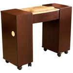 Vega Dark Brown Wood Veneer Manicure Table with Half Marble Top (MT111S)