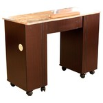 Vega Dark Brown Wood Veneer Manicure Table with Full Marble Top (MT111L)