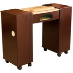 Vega Dark Brown Wood Veneer Manicure Table with Half Marble Top + UV Lamp Slot (MT111SX)