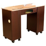 Vega Dark Brown Wood Veneer Manicure Table with Full Marble Top + UV Lamp Slot (MT111LX)