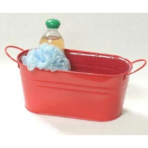 "12"" Red Painted Oval Tub with Side Handles (BY14-1R)"