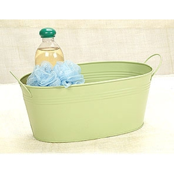 "12"" Sage Green Painted Oval Tub with Side Handles (BY14-1SG)"