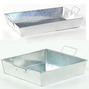 Galvanized Rectangular Trays with Side Handles ()