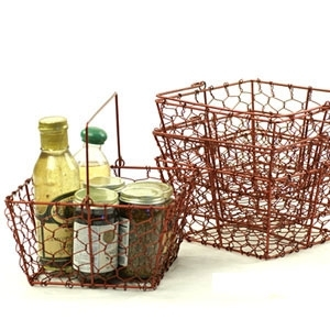 Antique Red Wire Basket (SY220-1R)