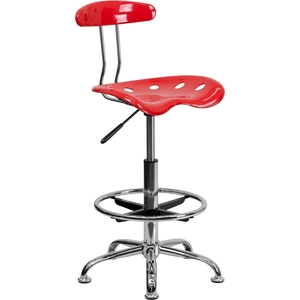 Tractor Stool with Backrest and Footrest Cherry Tomato by BIGA (LF-215-CHERRYTOMATO-GG)