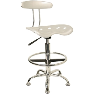 Tractor Stool with Backrest and Footrest Silver by BIGA (LF-215-SILVER-GG)
