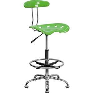 Tractor Stool with Backrest and Footrest Spicy Lime by BIGA (LF-215-SPICYLIME-GG)