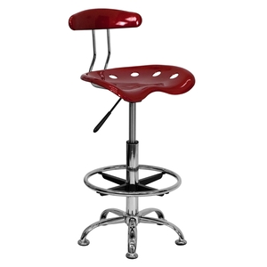 Tractor Stool with Backrest and Footrest Wine Red by BIGA (LF-215-WINERED-GG)
