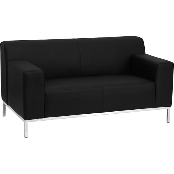 Def Series Reception Love Seat Black by BIGA (ZB-DEFINITY-8009-LS-BK-GG)