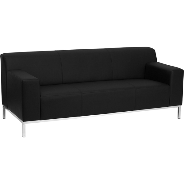 Def Series Reception Sofa Black by BIGA (ZB-DEFINITY-8009-SOFA-BK-GG)