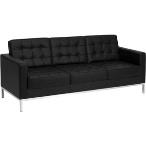 Lac Series Reception Sofa Black by BIGA (ZB-LACEY-831-2-SOFA-BK-GG)
