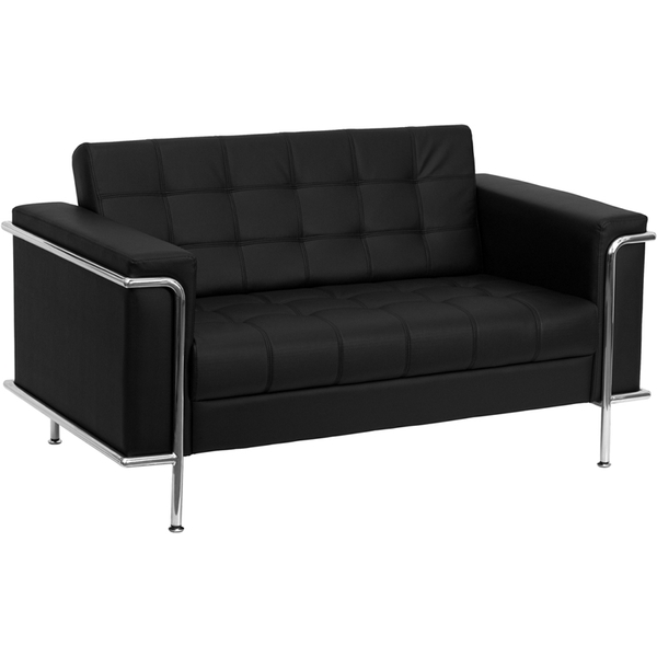 Les Series Reception Love Seat Black by BIGA (ZB-LESLEY-8090-LS-BK-GG)