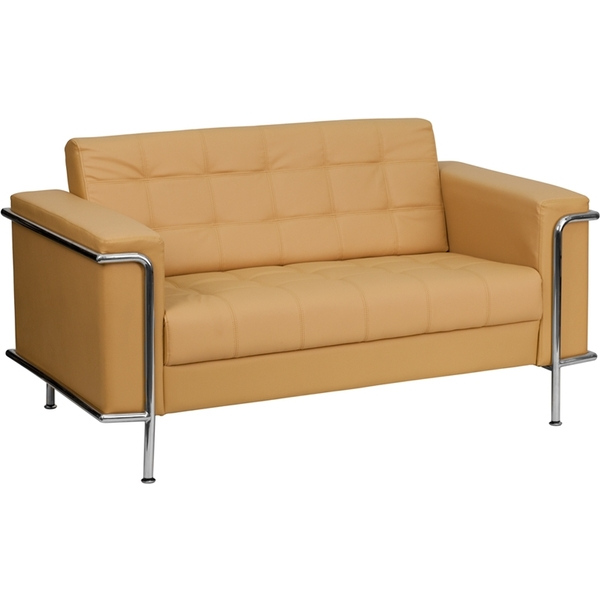 Les Series Reception Love Seat Brown by BIGA (ZB-LESLEY-8090-LS-BRN-GG)