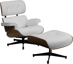 Pre Series Lounge Chair and Ottoman Set White by BIGA (ZB-PRESIDEO-CH-001-OTT-WHITE-GG)