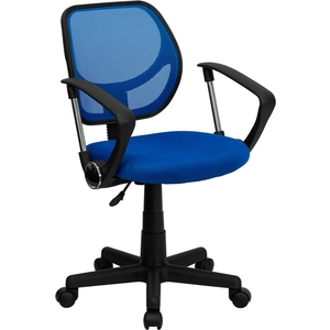 Mid-Back Blue Mesh SpaSalon Technician Chair with Arms by BIGA (WA-3074-BL-A-GG)