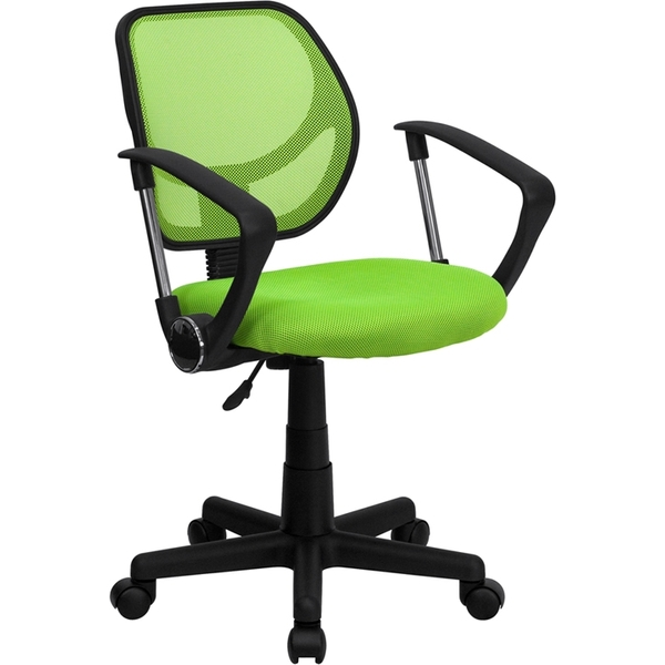 Mid-Back Green Mesh SpaSalon Technician Chair with Arms by BIGA (WA-3074-GN-A-GG)