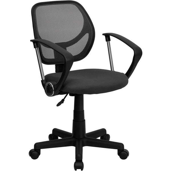 Mid-Back Gray Mesh SpaSalon Technician Chair with Arms by BIGA (WA-3074-GY-A-GG)