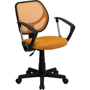 Mid-Back Orange Mesh SpaSalon Technician Chair with Arms by BIGA (WA-3074-OR-A-GG)