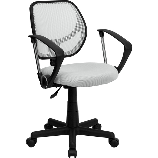 Mid-Back White Mesh SpaSalon Technician Chair with Arms by BIGA (WA-3074-WHT-A-GG)