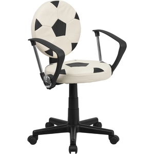 Soccer Themed SpaSalon Technician Chair with Arms by BIGA (BT-6177-SOC-A-GG)