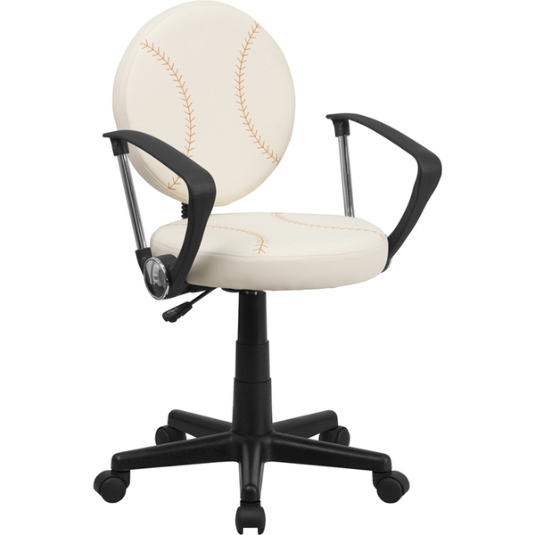 Baseball Themed SpaSalon Technician Chair with Arms by BIGA (BT-6179-BASE-A-GG)