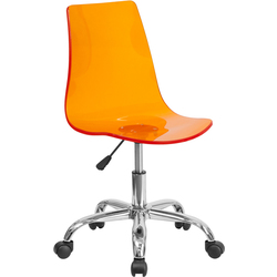 Cleary Transparent Orange Acrylic Task Chair with Chrome Base by BIGA (CH-98018-OR-GG)