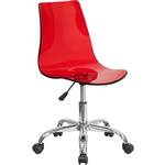 Cleary Transparent Red Acrylic Task Chair with Chrome Base by BIGA (CH-98018-RED-GG)