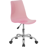 Cleary Transparent Pink Acrylic Task Chair with Chrome Base by BIGA (CH-98018-PK-GG)