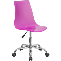 Cleary Transparent Hot Pink Acrylic Task Chair with Chrome Base by BIGA (CH-98018-HT-PK-GG)
