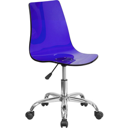 Cleary Transparent Blue Acrylic Task Chair with Chrome Base by BIGA (CH-98018-BL-GG)