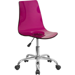 Cleary Transparent Purple Acrylic Task Chair with Chrome Base by BIGA (CH-98018-PUR-GG)