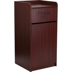 Trash Receptacle with Tray Top in Mahogany Wood Finish by BIGA (MT-M8520-TRA-MAH-GG)