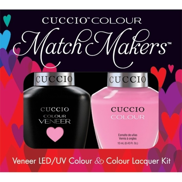 Cuccio Match Makers - Kyoto Cherry Blossom Kit - 1 Nail Lacquer + 1 Matching Veneer Soak Off LEDUV Nail Colour 0.43 oz. Each (663247)