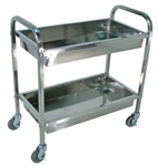 "Stainless Steel Esthetician's Cart 2 Shelves 33.5""W x 17.5""D x 35.5""H (SST2S)"