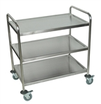 "Stainless Steel Esthetician's Cart 3 Shelves 33.5""W x 21""D x 37""H (ST-3)"