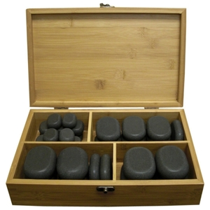 Polished Hot Massage Basalt Stone Set 36 Stones in Bamboo Case (TDSTN-36)