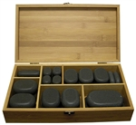 Polished Hot Massage Basalt Stone Set 45 Stones in Bamboo Case (TDSTN-45)
