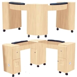 The Charlotte  Wood Finish Double Nail Table - Corner (D-106 Double Corner)