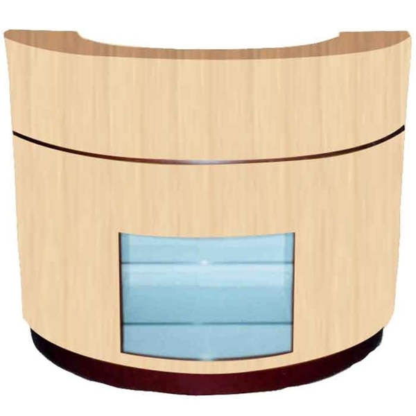 "The Chloe Wood Finish Half Moon Reception Counter 54"" or 72"" Wide Glass Display Case (Half-Moon-Reception)"