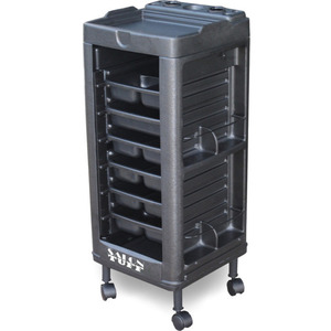 Maxi Plus Cart with Open Front and Built-In Appliance Holder 6 Trays by SalonTuff (MP)