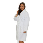 Velour Shawl Robe - White 100% Turkish Cotton Terry Cloth Inside & Terry Velour Outside (2VSXXWH)