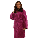 Velour Shawl Robe - Plum 100% Turkish Cotton Terry Cloth Inside & Terry Velour Outside (2VSXXPL)