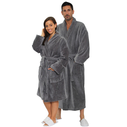 Velour Shawl Robe - Cool Gray 100% Turkish Cotton Terry Cloth Inside & Terry Velour Outside (2VSXXCG)