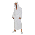 Velour Hooded Robe - White 100% Turkish Cotton Terry Cloth Inside & Terry Velour Outside (2VHXXWH)