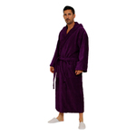 Velour Hooded Robe - Purple 100% Turkish Cotton Terry Cloth Inside & Terry Velour Outside (2VHXXPR)