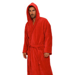 Velour Hooded Robe - Red 100% Turkish Cotton Terry Cloth Inside & Terry Velour Outside (2VHXXRE)