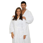 Velour Kimono Robe - White 100% Turkish Cotton Terry Cloth Inside & Terry Velour Outside (2VKXXWH)