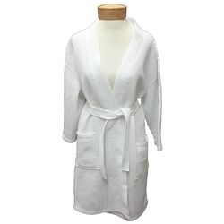 Women's Knee Length Square Waffle Kimono Robe - White 65% Natural Cotton and 35% Polyester (2WK9XWH)