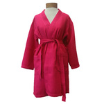 Women's Knee Length Square Waffle Kimono Robe - Fuchsia 65% Natural Cotton and 35% Polyester (2WK9XFC)